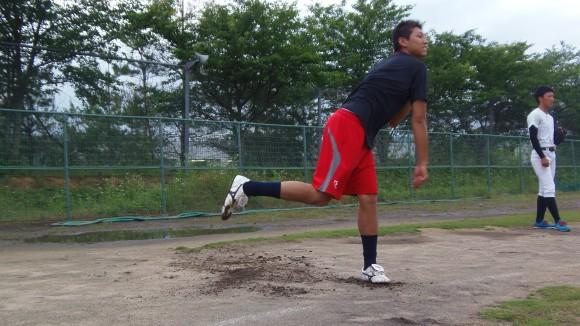福山大学野球部山本投手遠投