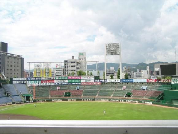 旧広島市民球場レフト方面を一塁側から望む