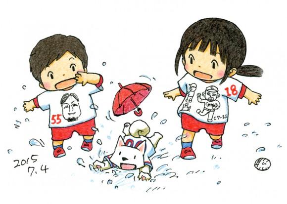 田中聡さん作品、雨とマエケンTシャツ